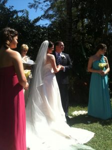The ceremony in sunny Florida with my husband, myself and my new stepdaughters.