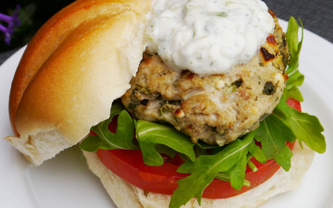 Greek Chicken Burgers with Tzatziki