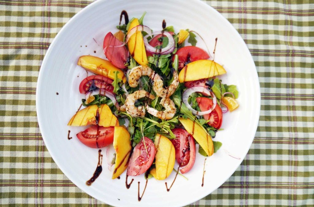 Tomato and Peach Shrimp Salad