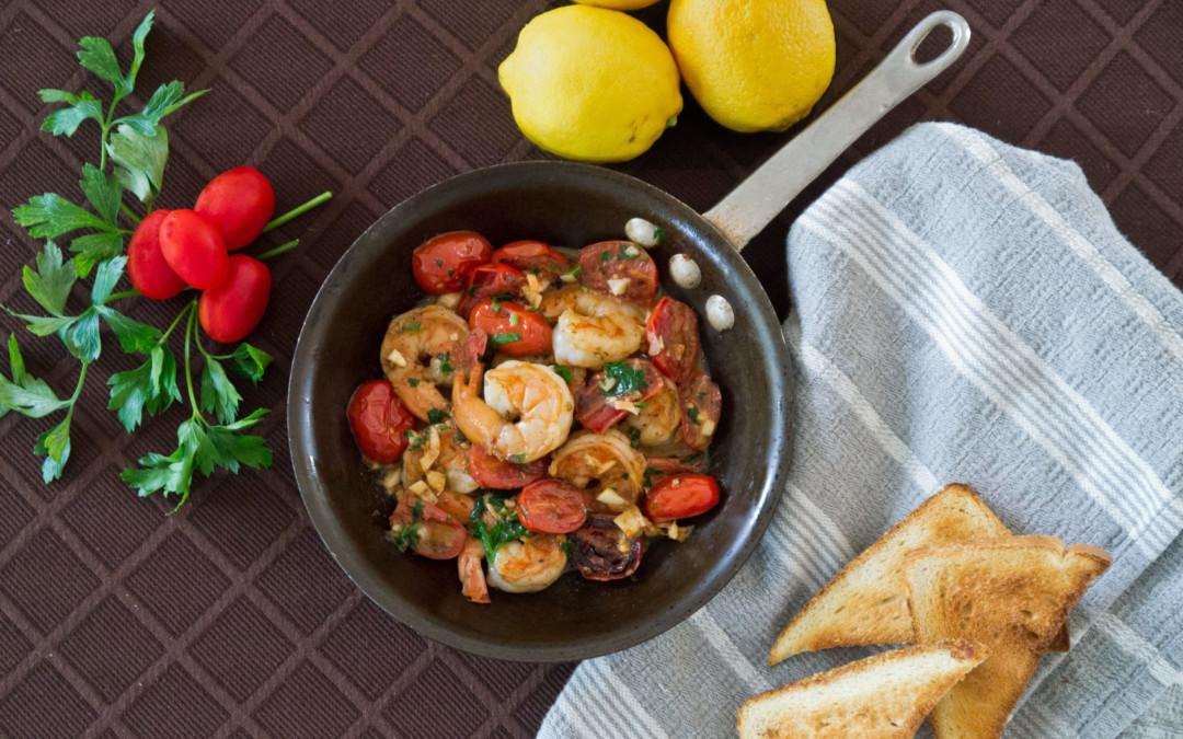 Seared Cherry Tomato and Shrimp Tapas